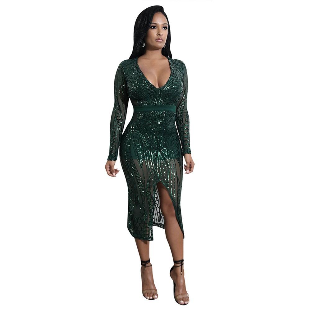 852bfcdf18 nuevo sexy mujeres lentejuelas bodycon vestido puro malla pr. Cargando zoom.