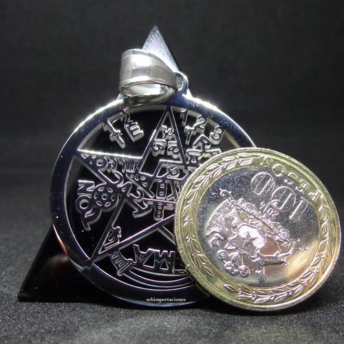 nuevo tetragramaton acero + pulsera de hematita.-  premium