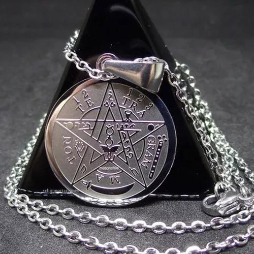 nuevo tetragramaton - acero + pulsera tibetana de la suerte