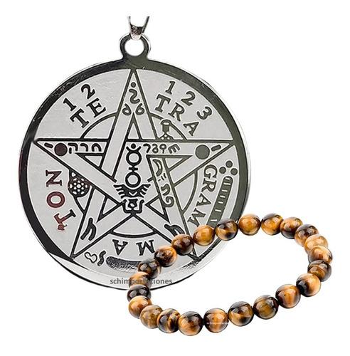 nuevo tetragramaton premium* acero + pulsera ojo de tigre -