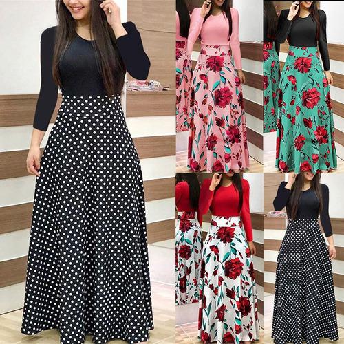 nuevo vestido maxi de las mujeres vestido floral empalme de