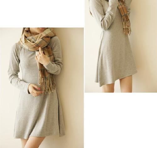 nuevo vestido mujeres manga largo pulido suave lana