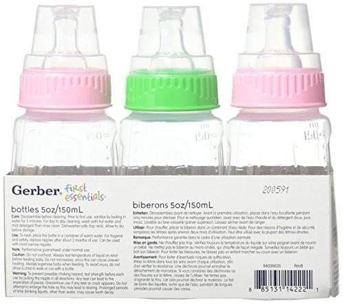 nuk gerber 3 piezas first essentials clear view bottle girl