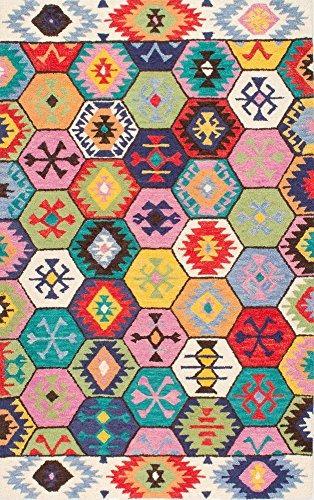 nuloom bohemia tribal hexágono hecho a mano woolen multi are
