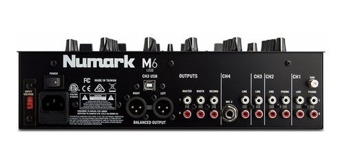 numark m6usb black dj mixer 4 canales envio full