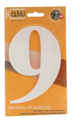 número acrílico 14,5cm n.9 branco