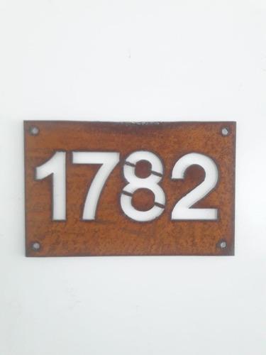 numero de puerta oxido - acero corten 15x23cm