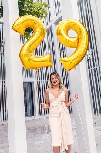 número globo metalizado 80cm dorado deco cotillon cumpleaños