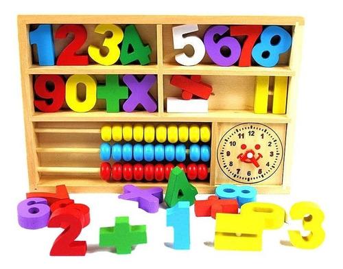 números con ábaco - didácticos en madera - trazo play