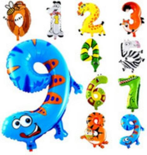 números  de animales  globos safari selva zoologico niños