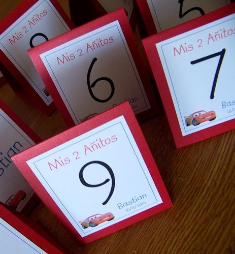 números de mesa - indicadores con base de color - fiestas.