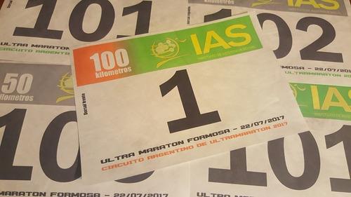 numeros dorsales tyvek para carreras y maratones x 100