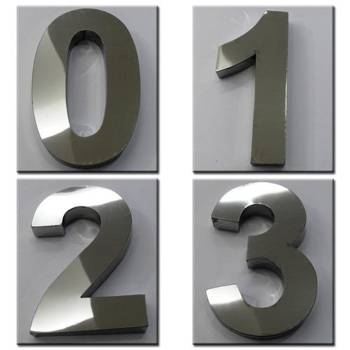 números em aço inox - 20cm