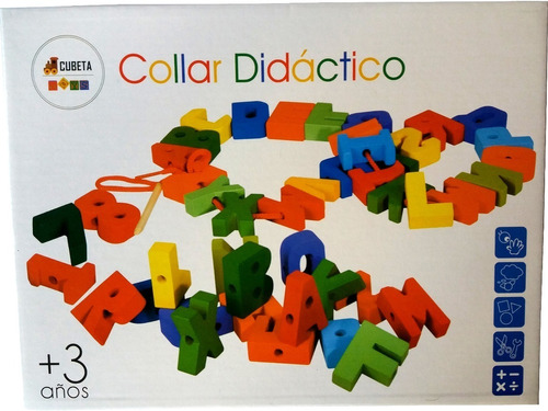 numeros letras de madera encastre collar con hilo didactico