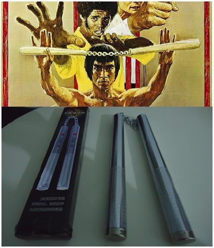 nunchaku bastão 2 x 1 de aço com rolamento kung fu karatê