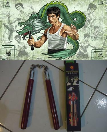 nunchaku de madeira com rolamento kung fu karatê