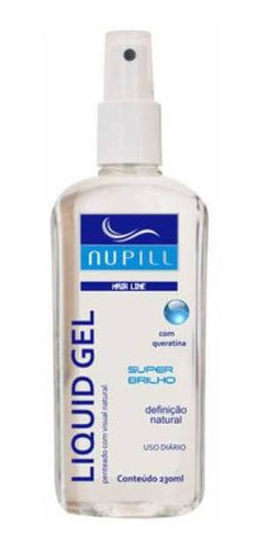 nupill super brilho gel capilar líquido incolor spray 230ml