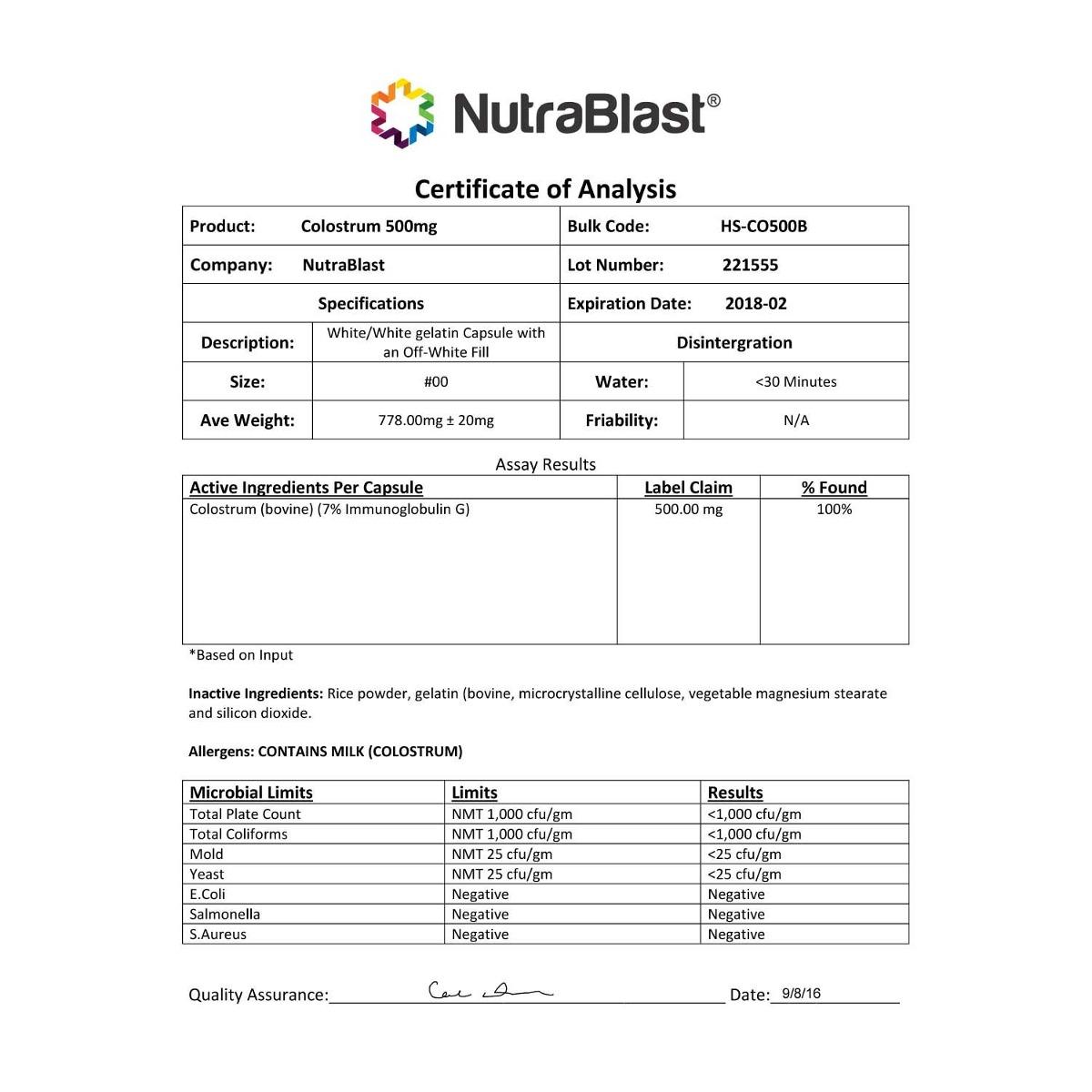 nutrablast calostro bovino 500 mg de inmunoglobulina - maxim. Cargando zoom. 5089ee7f248