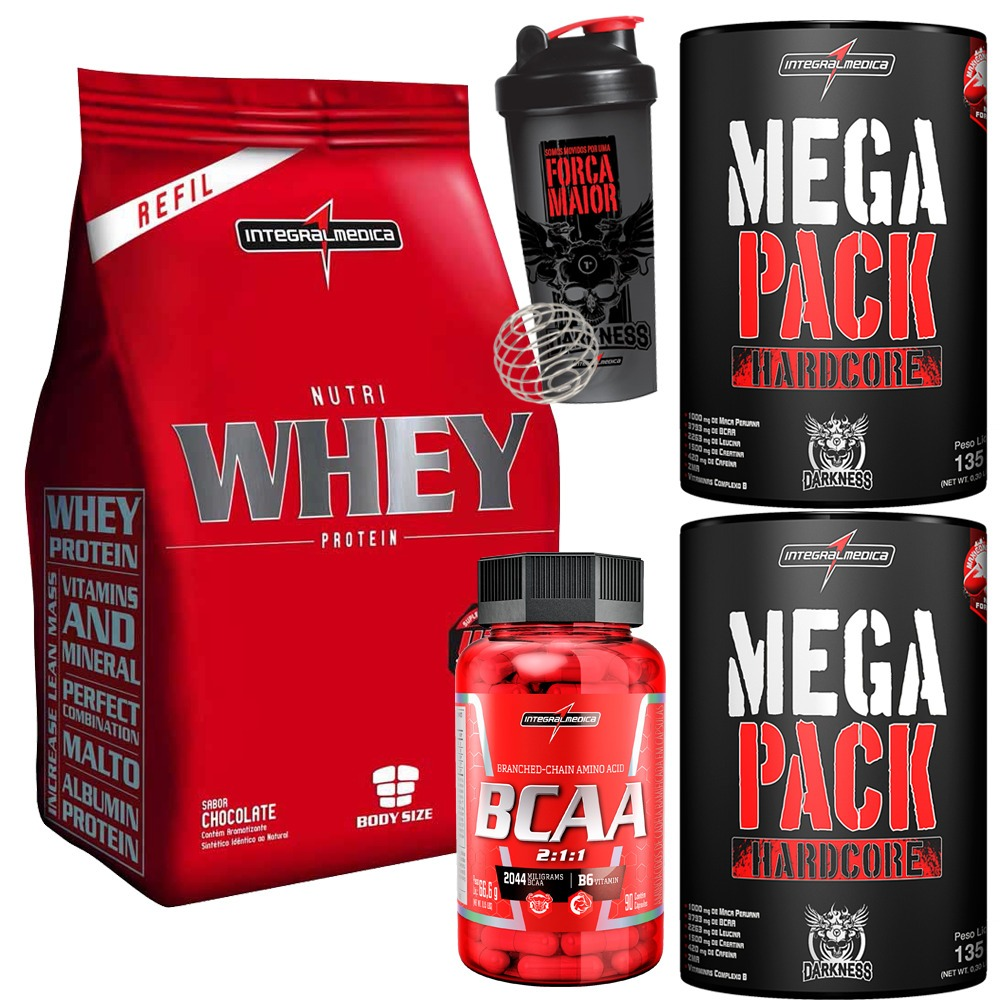 f709ad967 Nutri Whey Protein + 2 Mega Pack + Bcaa 2 1 1 + Coqueteleira - R  200