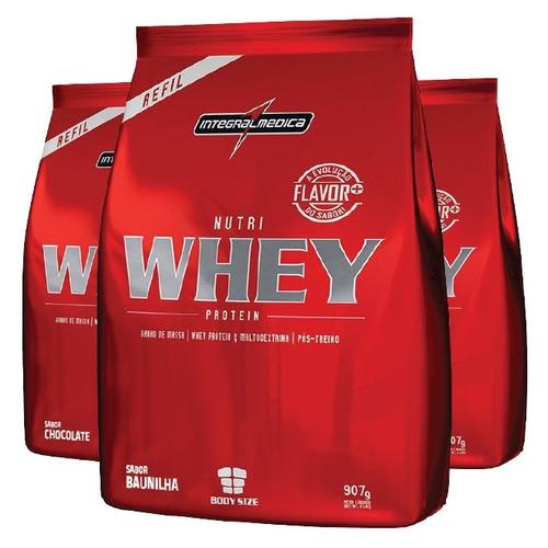 nutri whey protein 907g - integralmédica c/ 3 unids