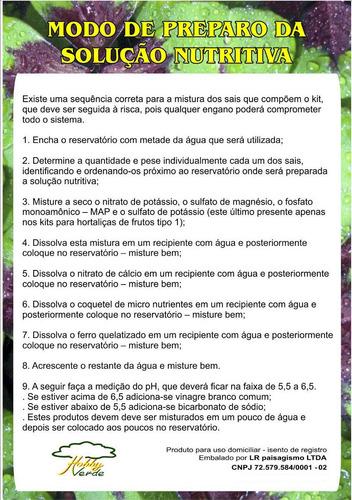 nutrientes solução hidroponia 2000 litros frutos tipo 1a+b