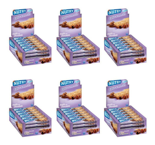 nutry barra de cereal avela chocolate c/24 (kit c/06)