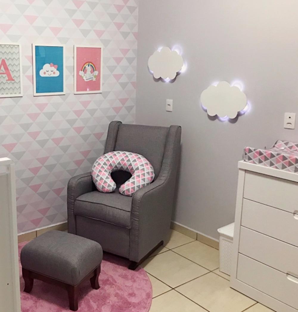 Nuvem Com Luz De Led Decoraç u00e3o Quarto De Bebe Luminaria 45cm R$ 59,00 em Mercado Livre -> Decoração Chá De Bebê Nuvem