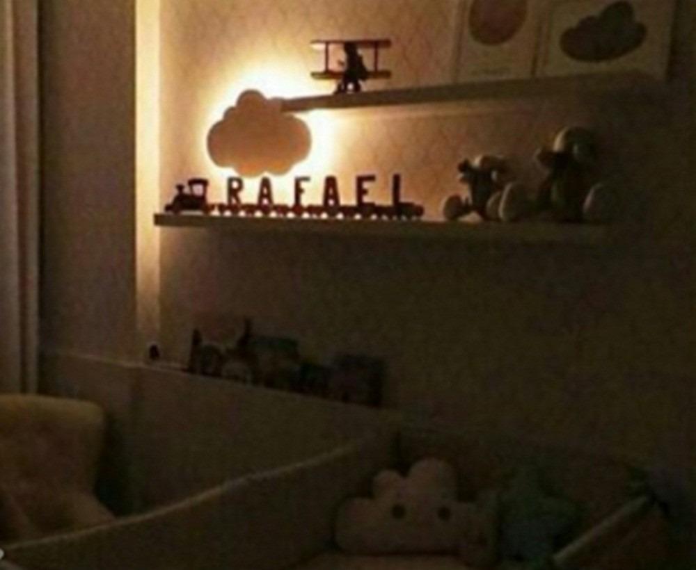 Nuvem Com Luz De Led Luminaria Com Led Quarto De Bebe 45 Cm R  ~ Luminaria A Pilha Para Quarto E Pintura De Quarto De Bebê