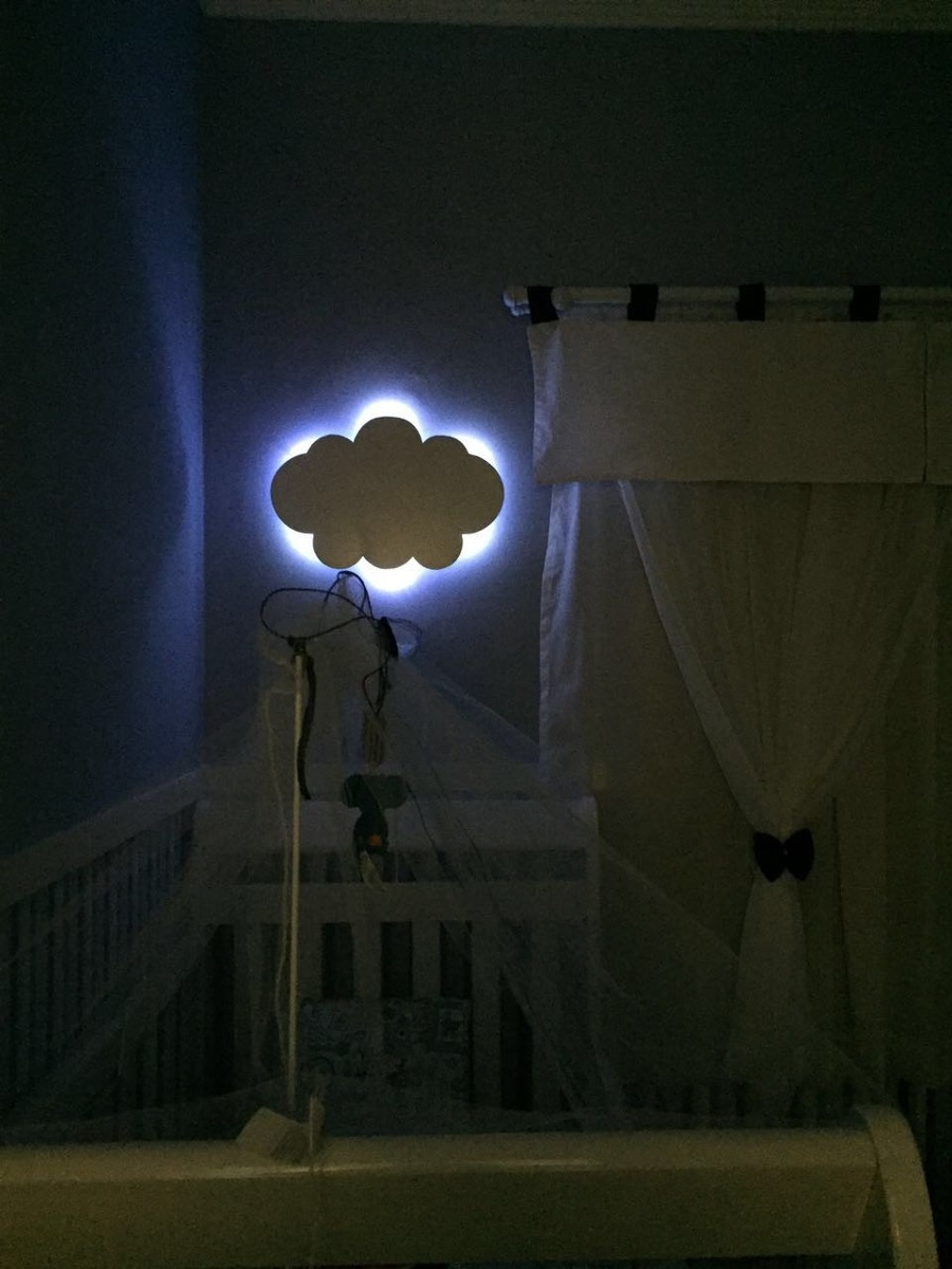 Nuvem Com Luz De Led Luminaria Com Led Quarto De Bebe 55