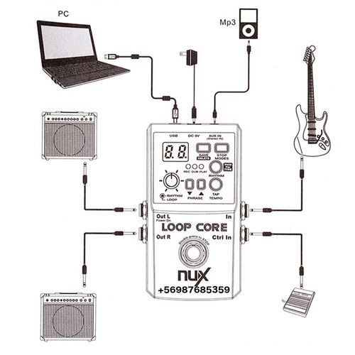 nux loop core 6 horas pedal + cable