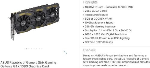 nvidia geforce asus strix rog gtx 1080 8gb advanced edition