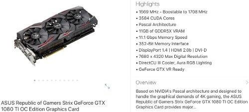 nvidia geforce asus strix rog gtx 1080 ti oc! 11gb 1080ti