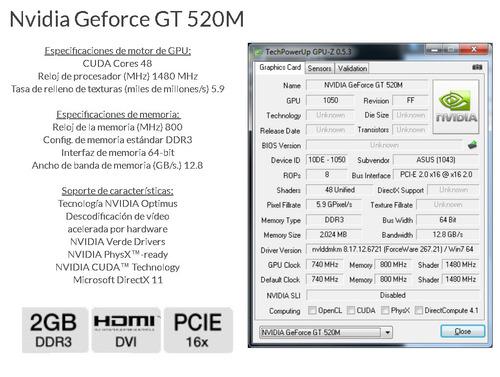 nvidia geforce gt 520m video card - 2gb, ddr3, 3d