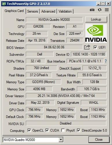 nvidia quadro m2000 4gb gddr5 vcqm2000-esppb