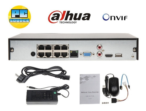 nvr poe 8 canales ip 6mp 1hdd p2p onvif dahua nvr2108hs8ps2