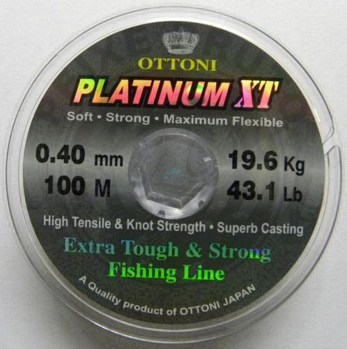 nylon tanza platinum xt ottoni c/100mt japon 0.40 mm 19.6 kg