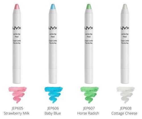 nyx jumbo eye pencil sombra lápis todas cores, milk, black