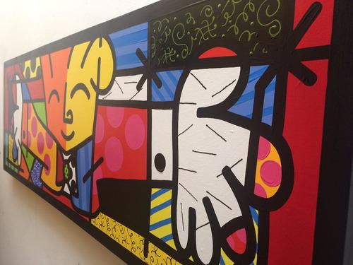 o abraço releitura de romero britto 50x150cm pintado a mão