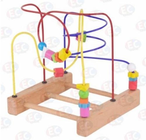 o679-c 3 caminos laberinto metálico bebé base madera educar