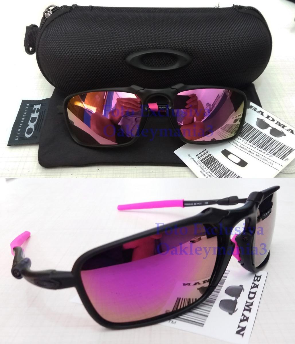 f3bfb55be6eb8 Oakley Badman Black Fosco Lente Rosa Pink Polarized+case - R  185,00 ...