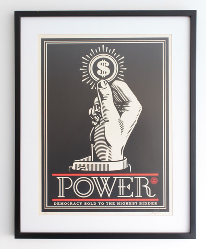 obey shepard fairey power bidder original firmada y numerada