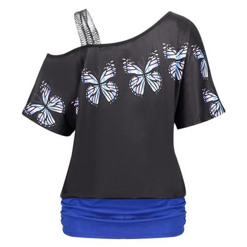 oblicua collar hombro correa mariposa impresión empalmado t