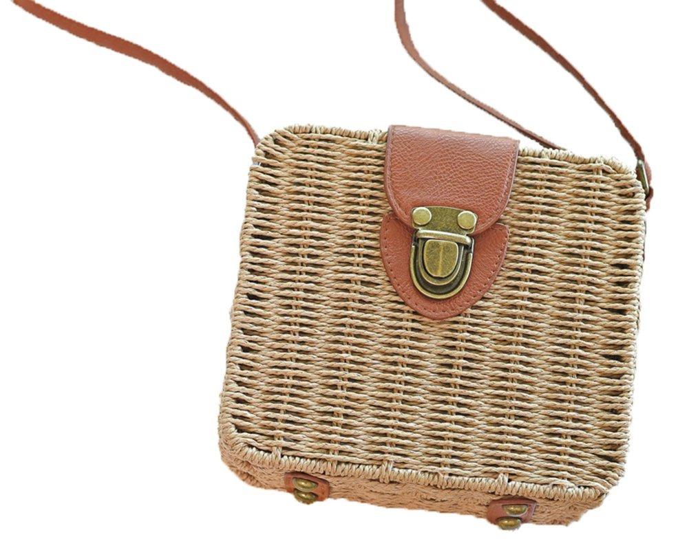 296ec9c94 obosoyo mujeres retro verano paja bolsos pequeños caja cr. Cargando zoom.