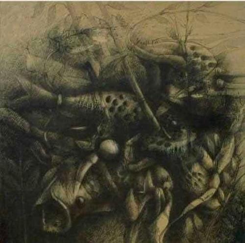 obra original de colección grafito/lienzo  j. ovalles