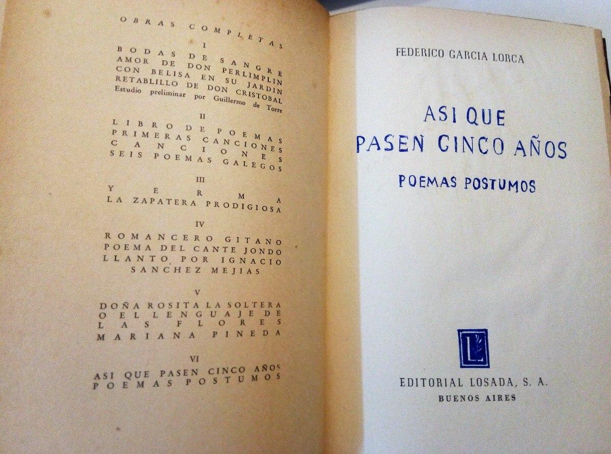 Obras Completas Losada 1938 Federico Garcia Lorca 600000
