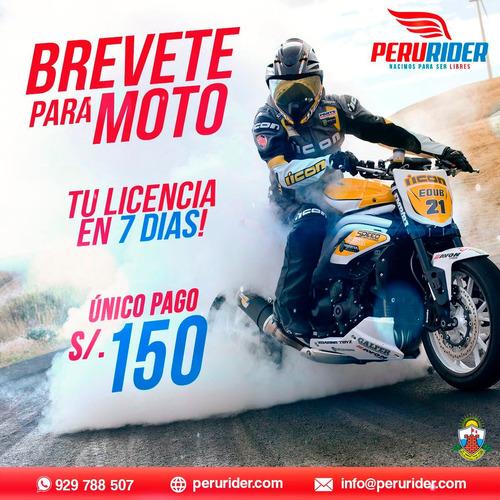 obten tu brevete licencia de moto en 7 dias | perúrider.com