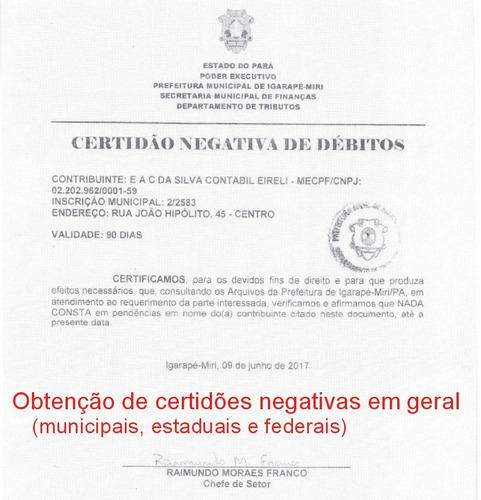 obtenção, regularização de documentos e pendencias