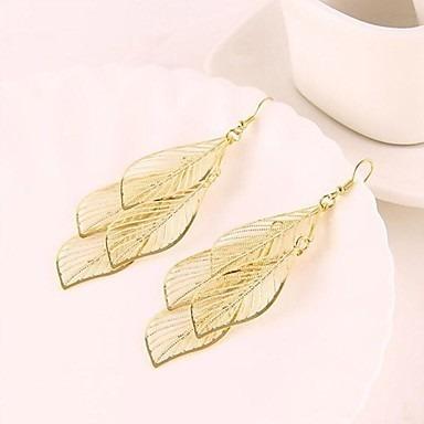 (ocas franjada leaves) golden liga brincos #01604952