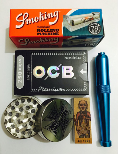 ocb x 250 hojas // kit // máquina / pípa / filtros picador
