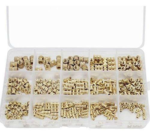 PERFETSELL 330 Pcs Tuerca Moleteada Lat/ón/M2 M3 M4 M5 Rosca Hembra Tuercas de Inserci/ón Moleteado/Insertos de Tuercas por Inyecci/ón Cil/índricas de Lat/ón Roscado Insertar con Un Caja para Impresora 3D